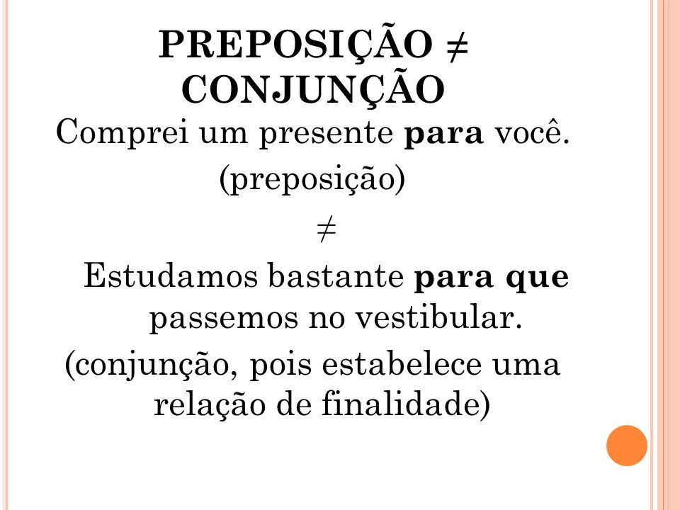 conjunção e preposição