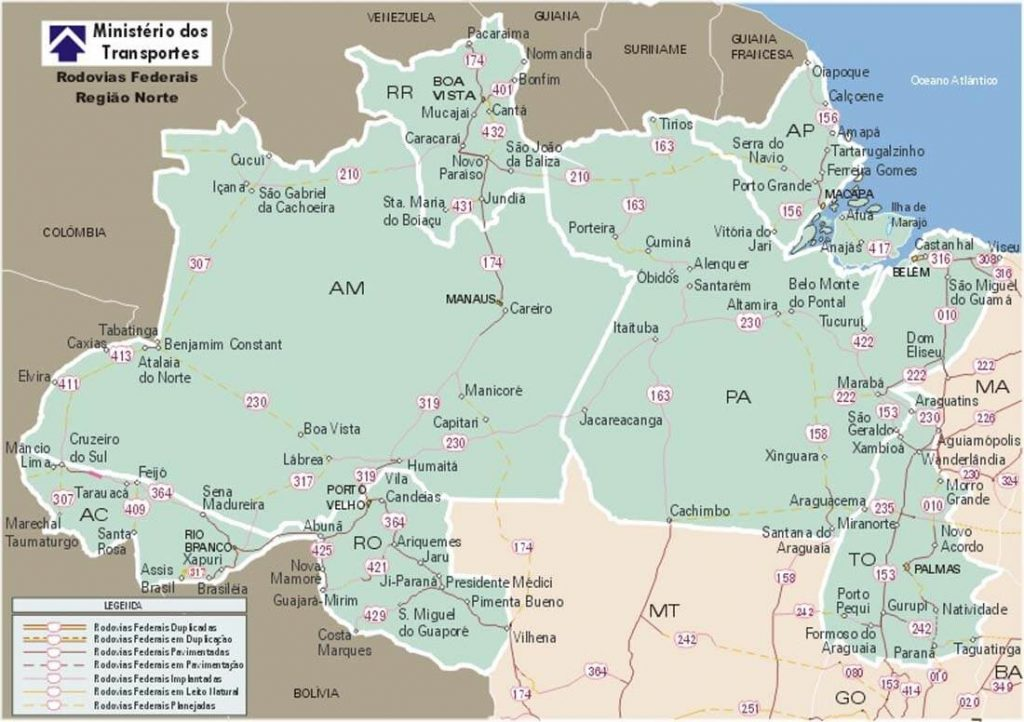 Mapa do Norte do Brasil