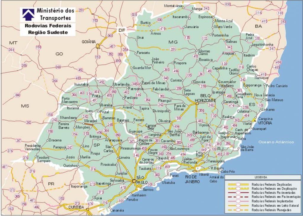 Mapa do Sudeste do Brasil
