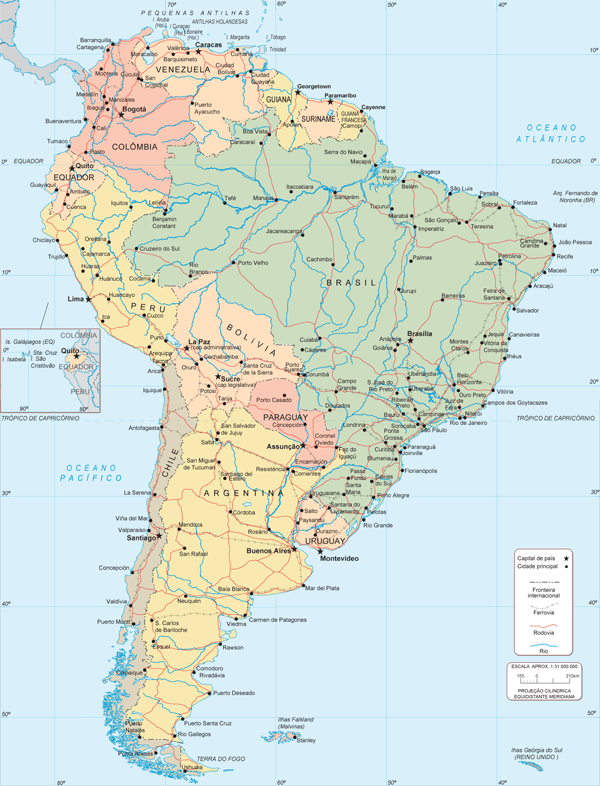 Mapa Múndi América do Sul