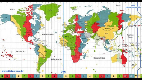 Mapa Múndi de Fuso Horários