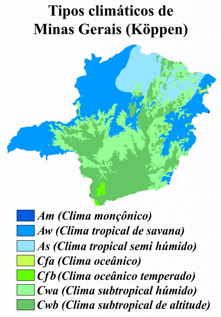 mapa climas Minas Gerais