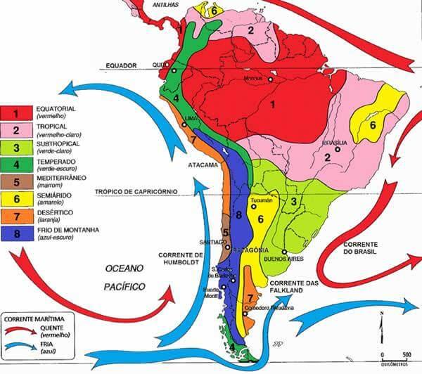 mapa clima da América do Sul
