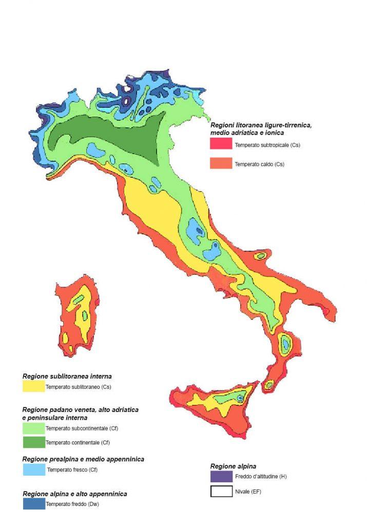 mapa clima Itália