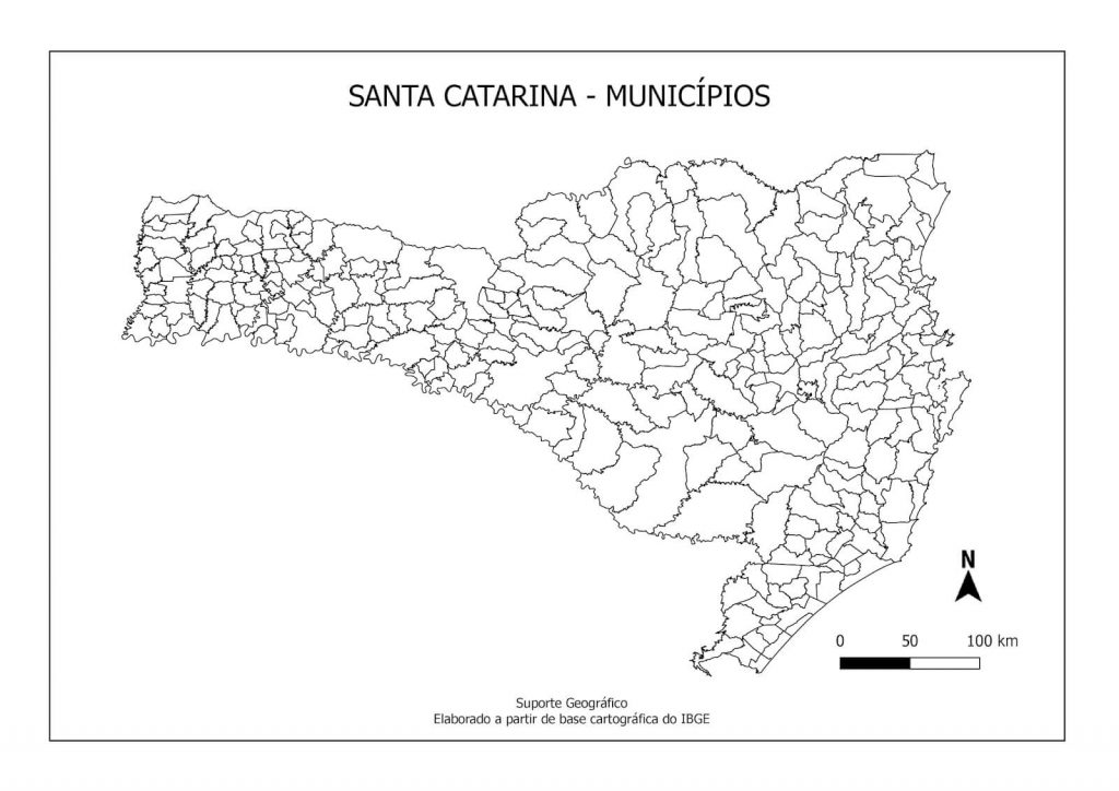 mapa colorir Santa Catarina