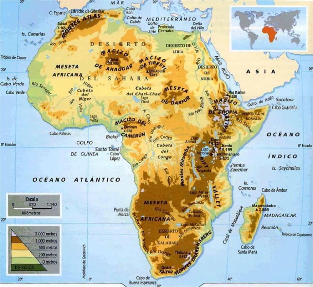 Mapa físico África