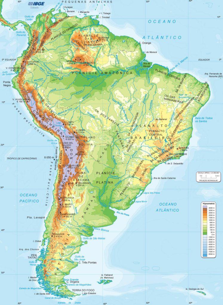 mapa físico América do Sul