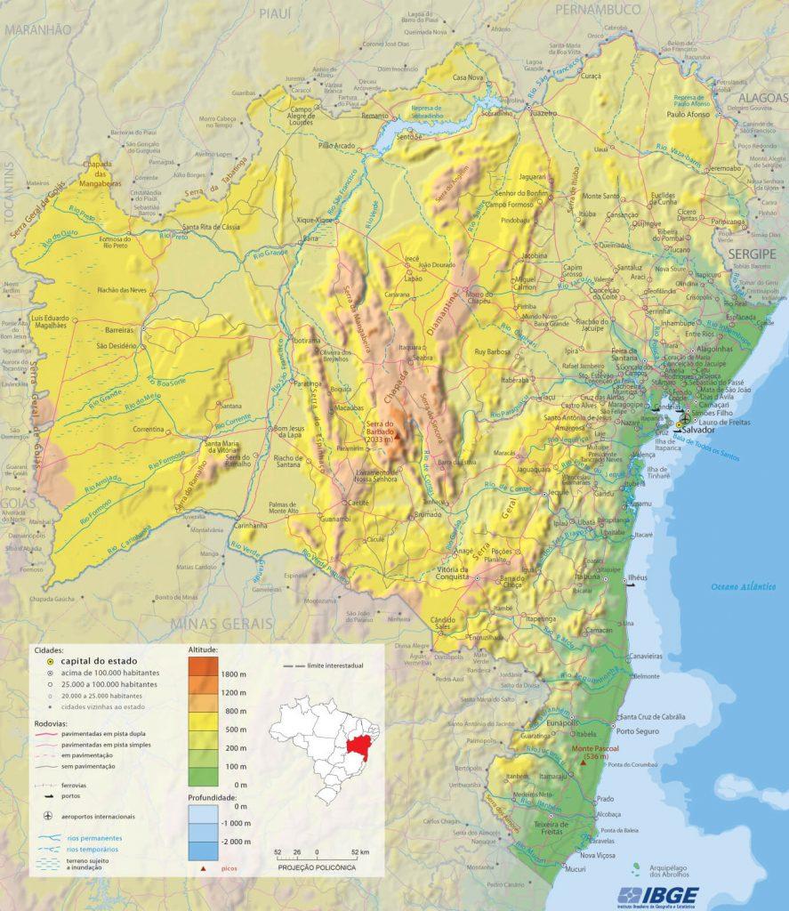 mapa físico Bahia