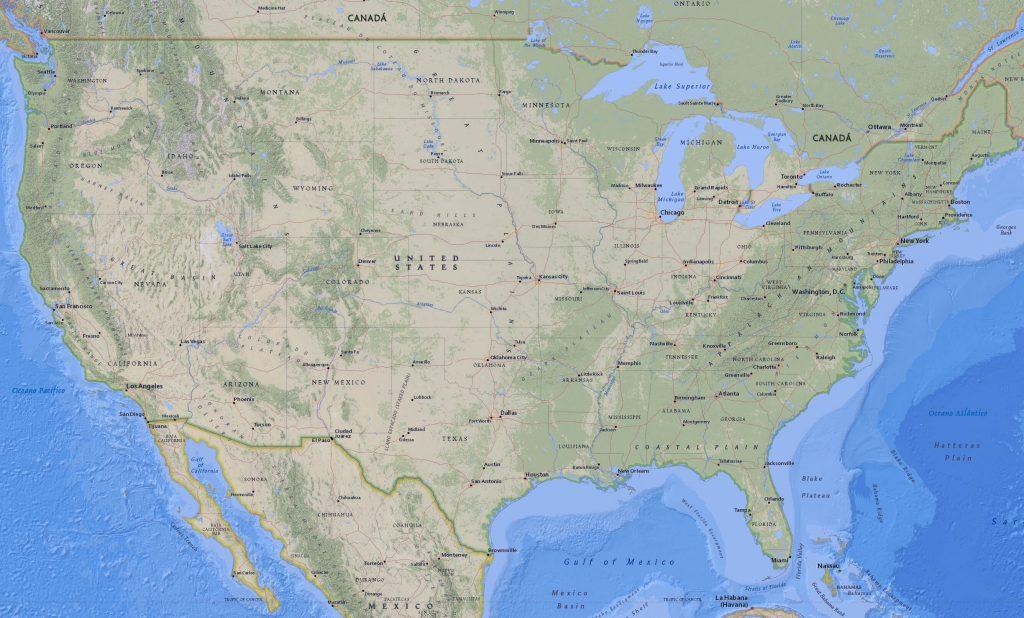 mapa físico Estados Unidos