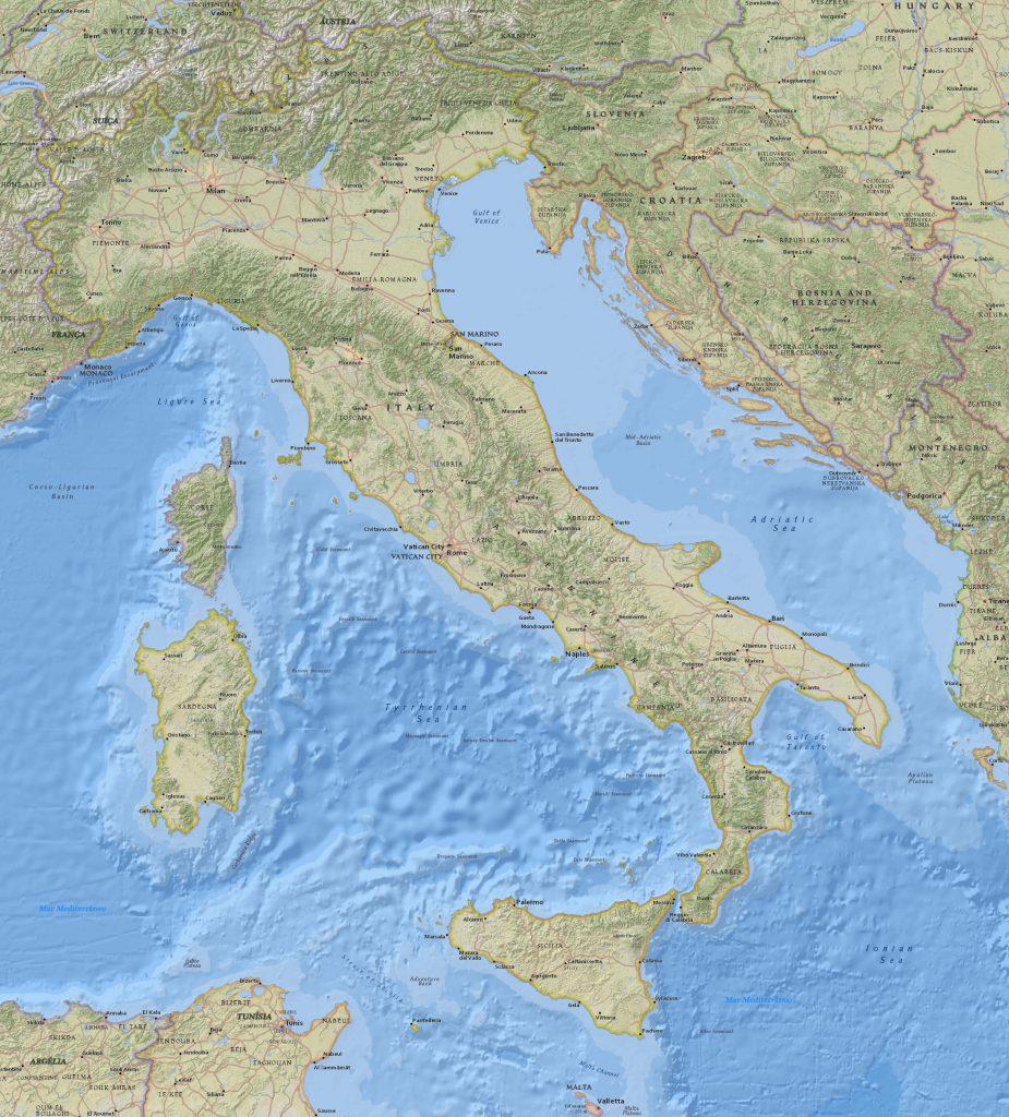 mapa físico Itália