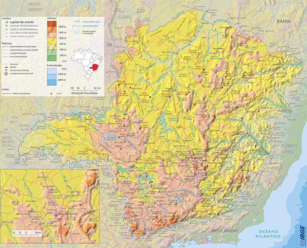 mapa físico Minas Gerais