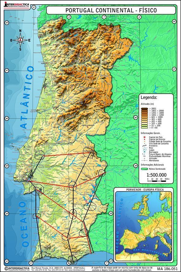 mapa físico Portugal