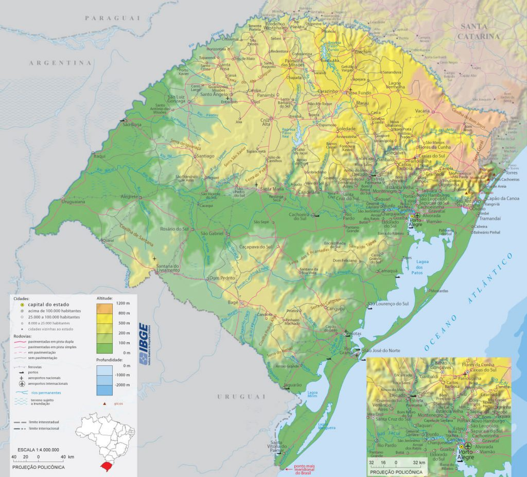 Mapa físico Rio Grande do Sul