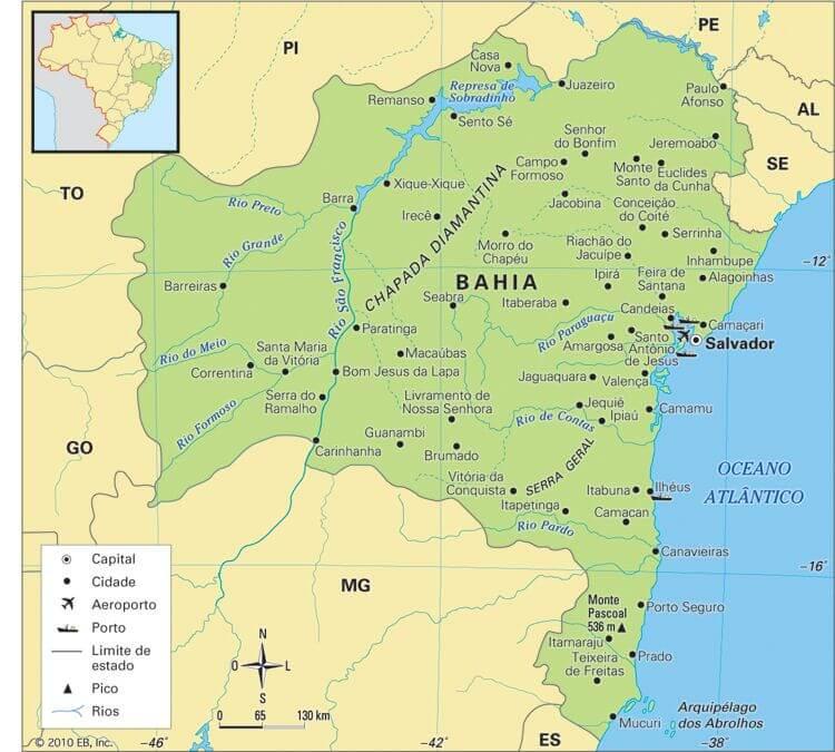 mapa político Bahia