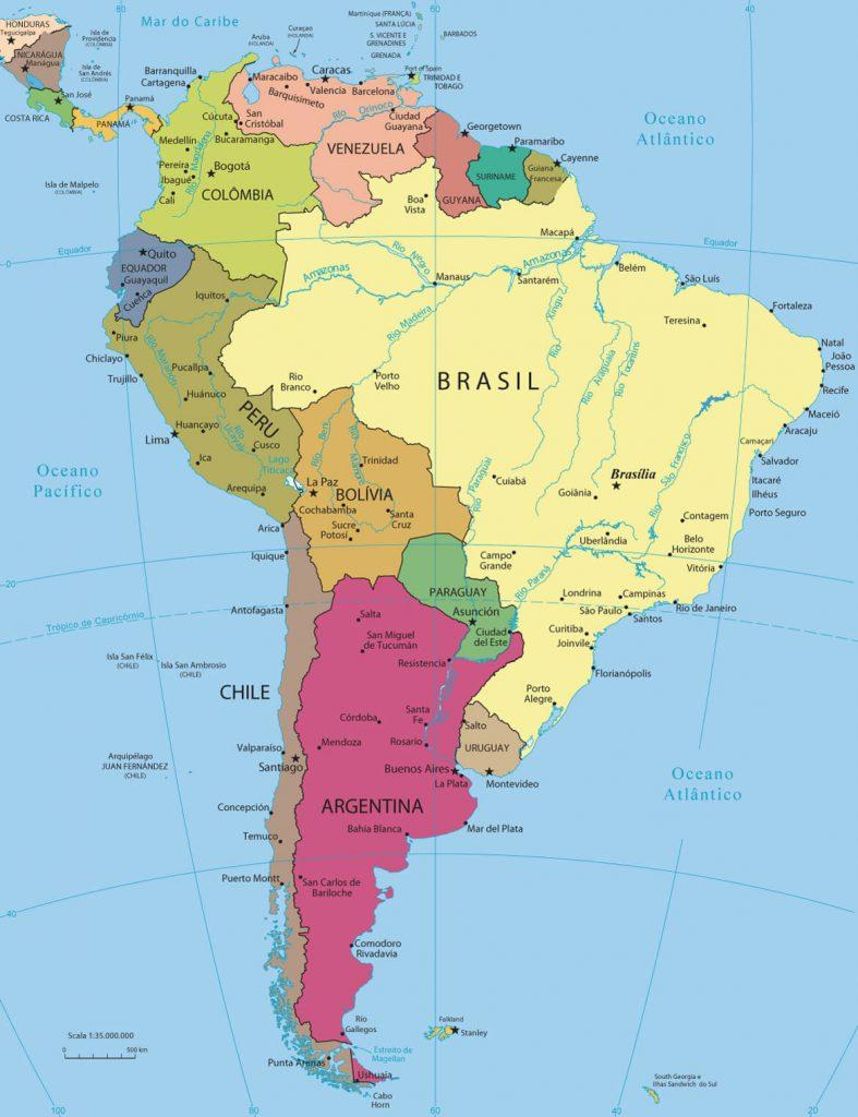 mapa político América do Sul