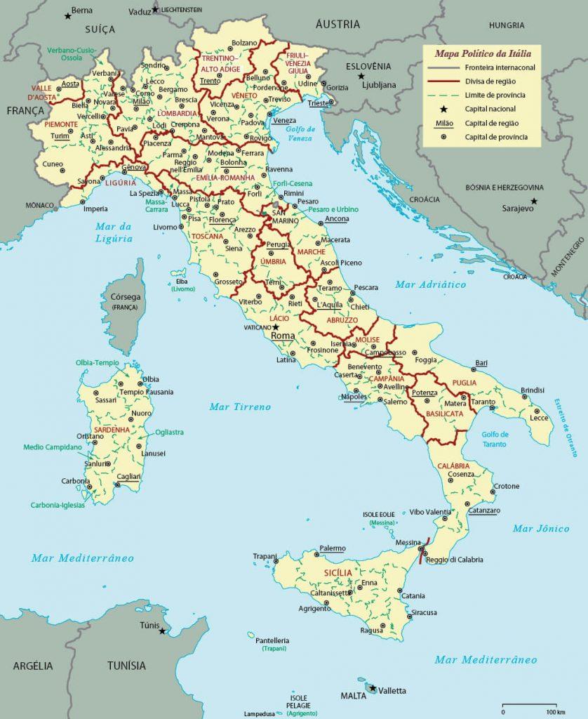 mapa político Itália