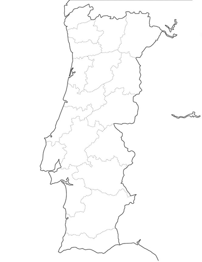 mapa Portugal colorir