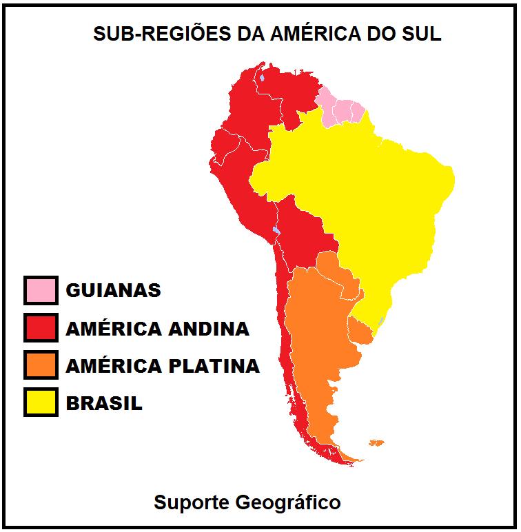 mapa regiões America do Sul