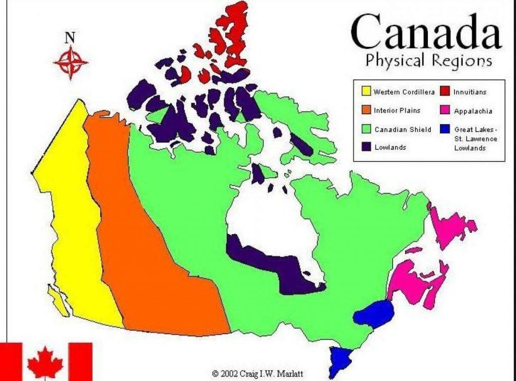Mapa regiões Canadá