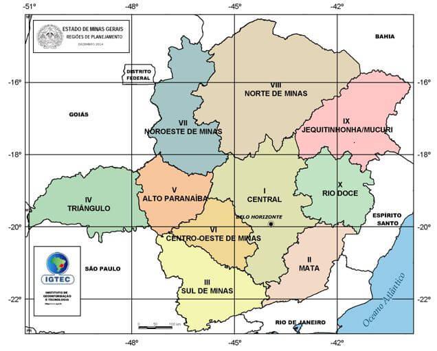 mapa regiões Minas Gerais