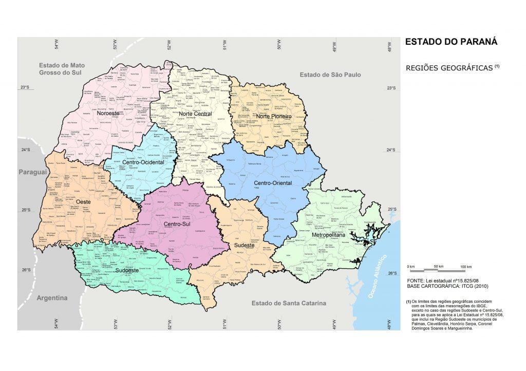 Mapa regiões Paraná