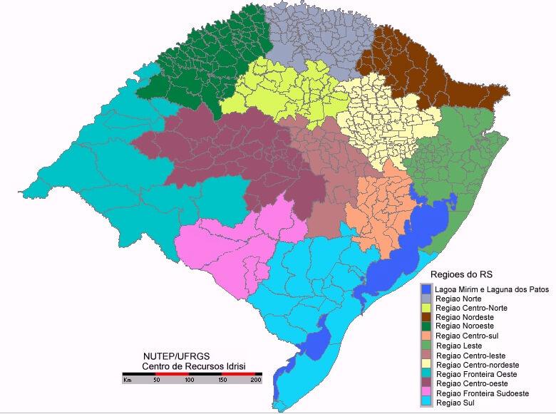 Mapa regiões Rio Grande do Sul