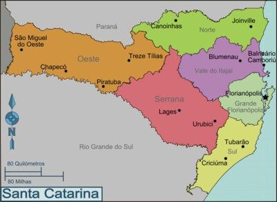mapa regiões Santa Catarina