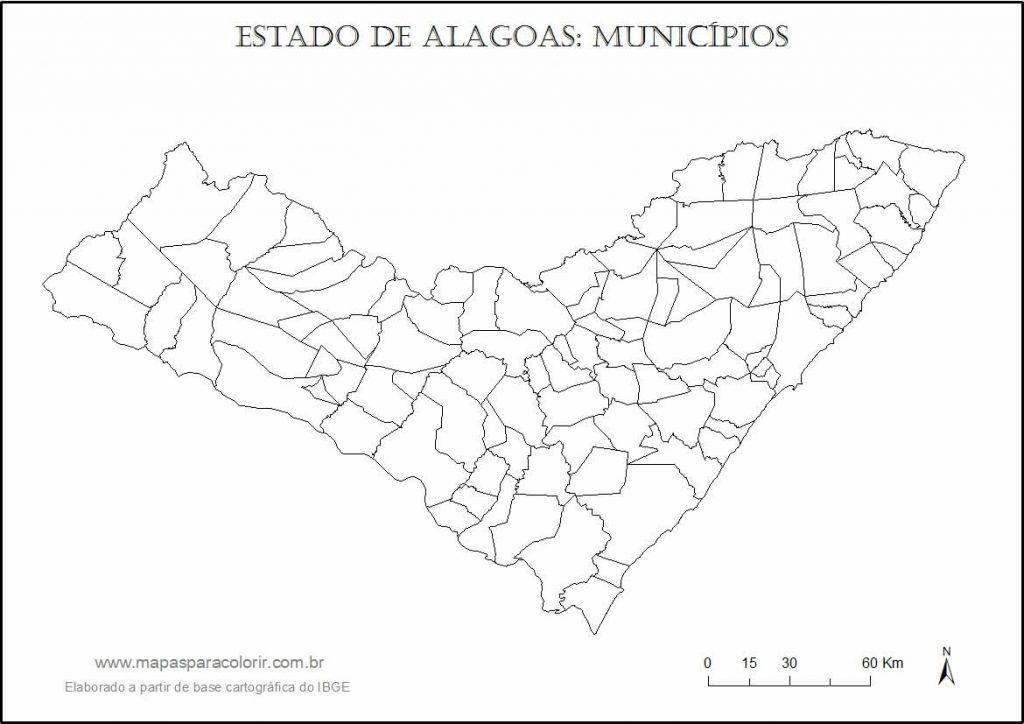 mapa Alagoas colorir