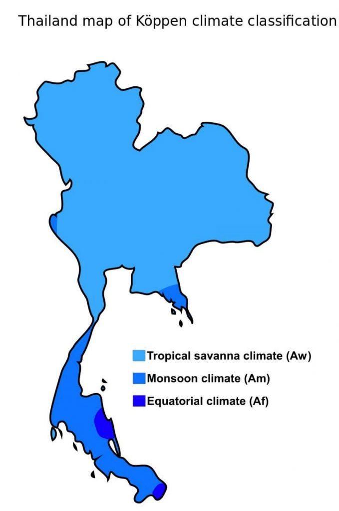 mapa climático Tailândia