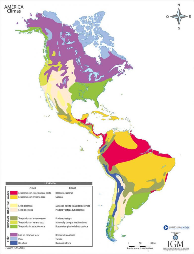 mapa clima Américas