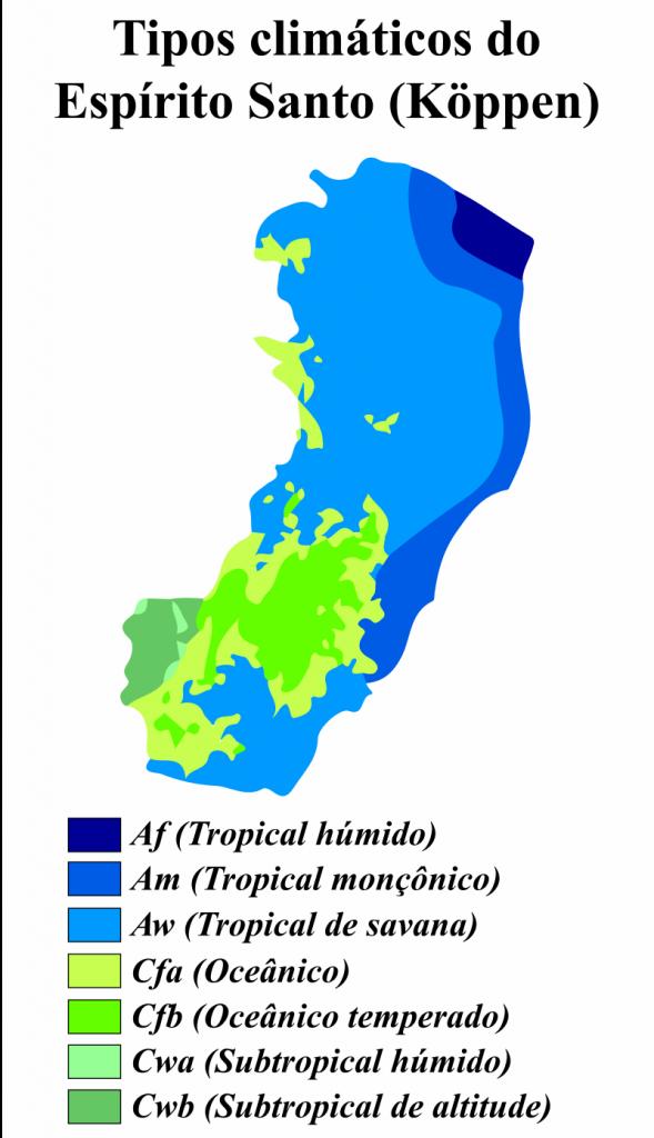 mapa climático Espírito Santo