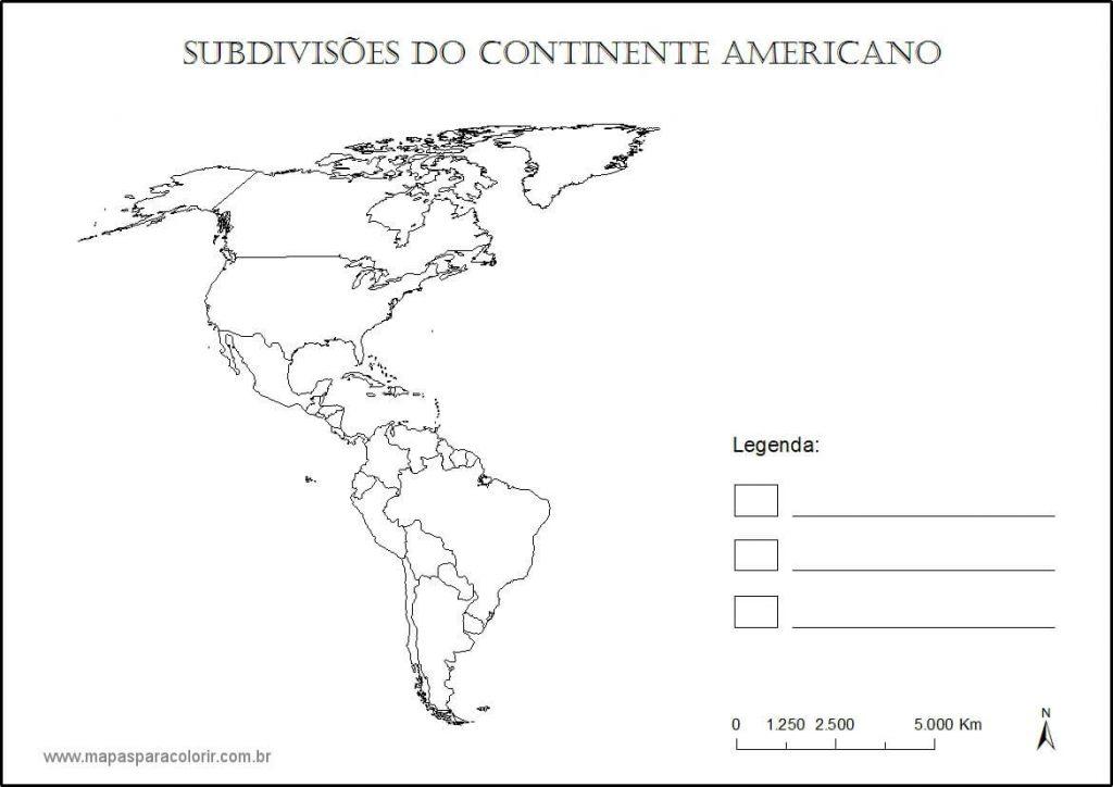 mapa colorir Américas