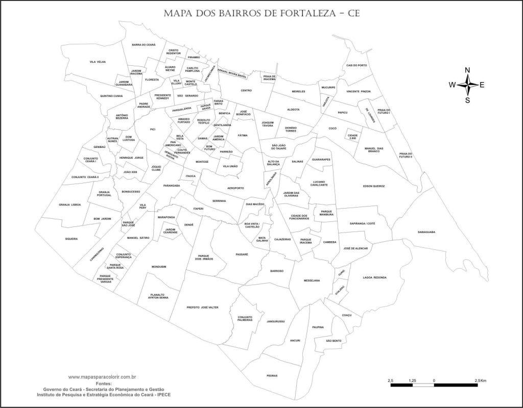 mapa colorir Fortaleza
