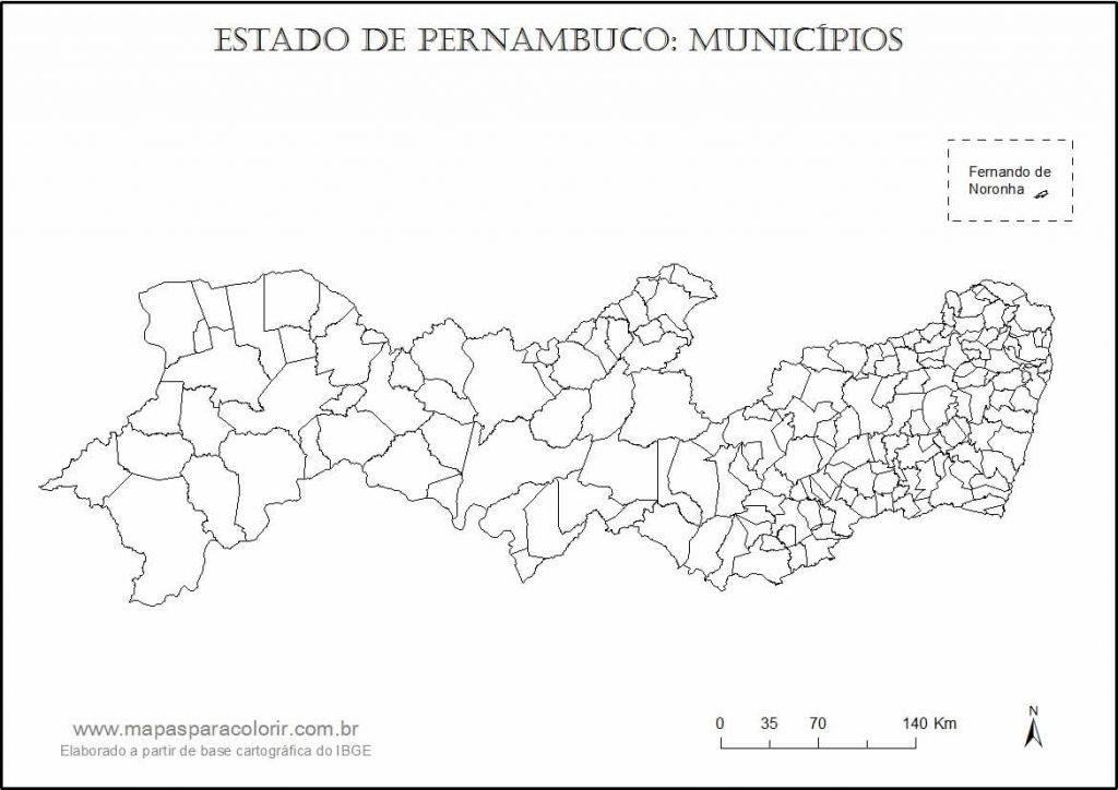 mapa colorir Pernambuco