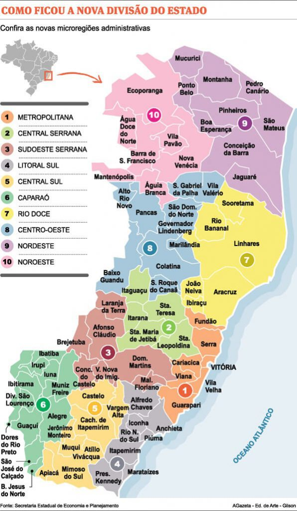 mapa distribuição regiões Espírito Santo