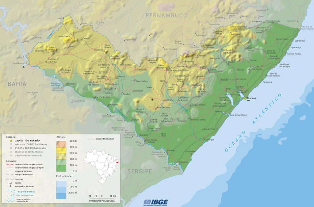 mapa físico Alagoas