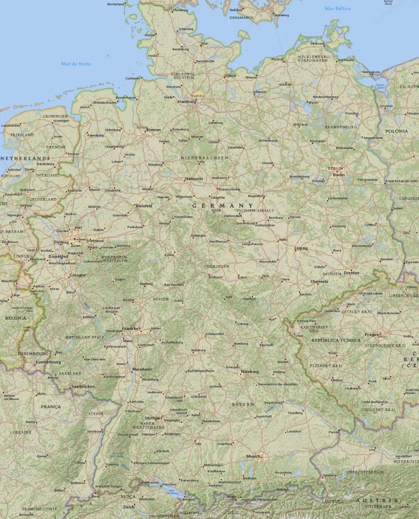 mapa físico Alemanha