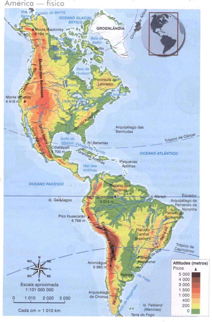 mapa físico Américas