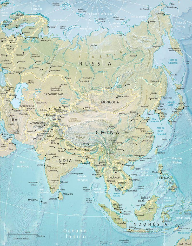 mapa físico Ásia