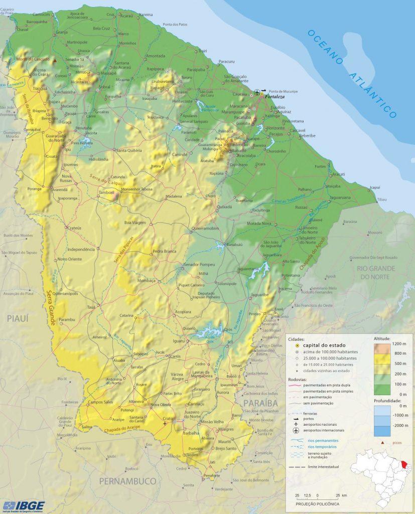 mapa físico Ceará