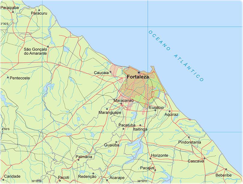 mapa físico Fortaleza