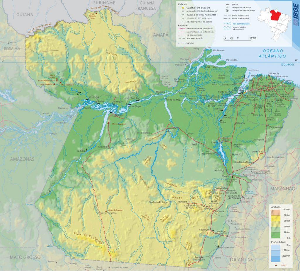 mapa físico Pará