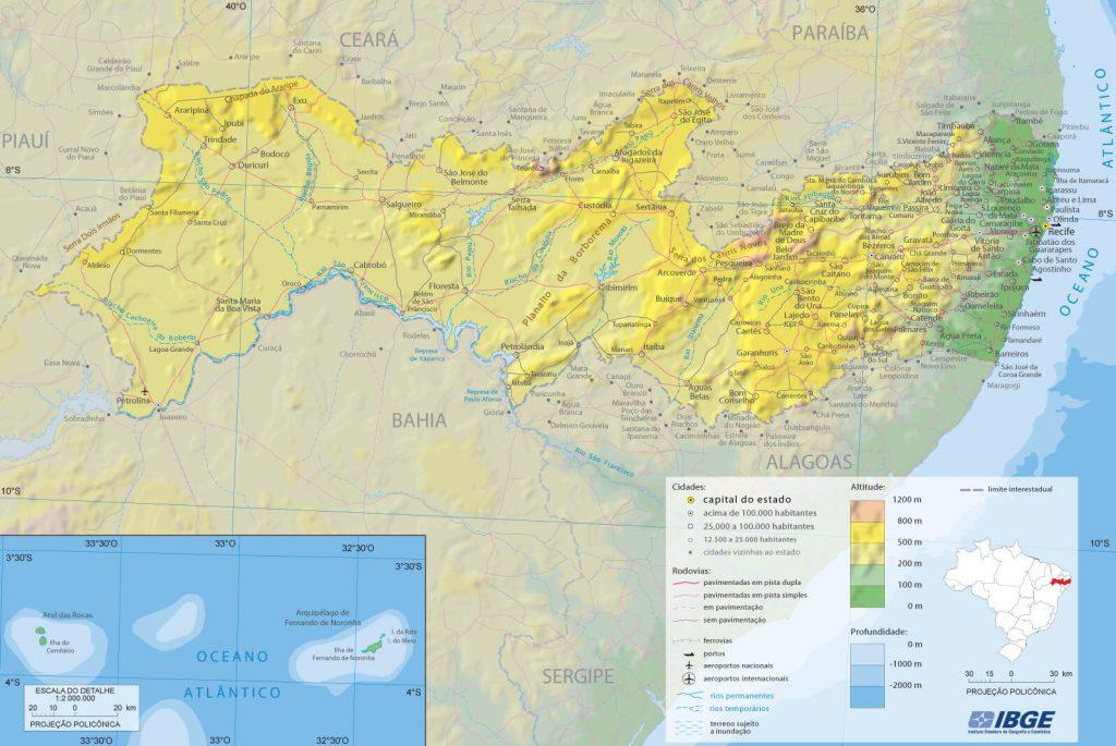 mapa físico Pernambuco