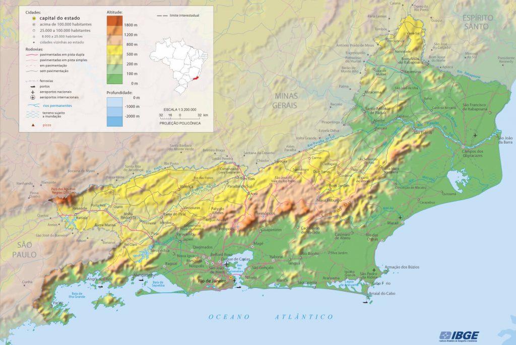 mapa físico Rio de Janeiro
