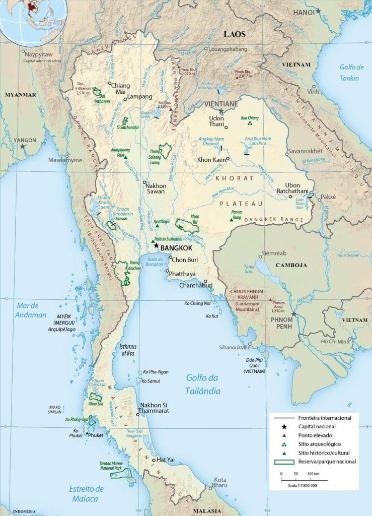 mapa físico Tailândia