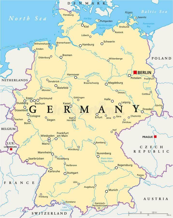 mapa político Alemanha