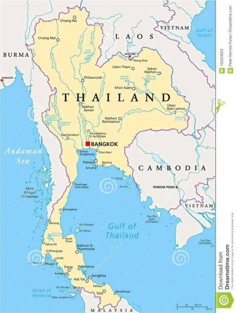 mapa político Tailândia