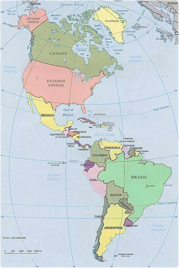 mapa político Américas