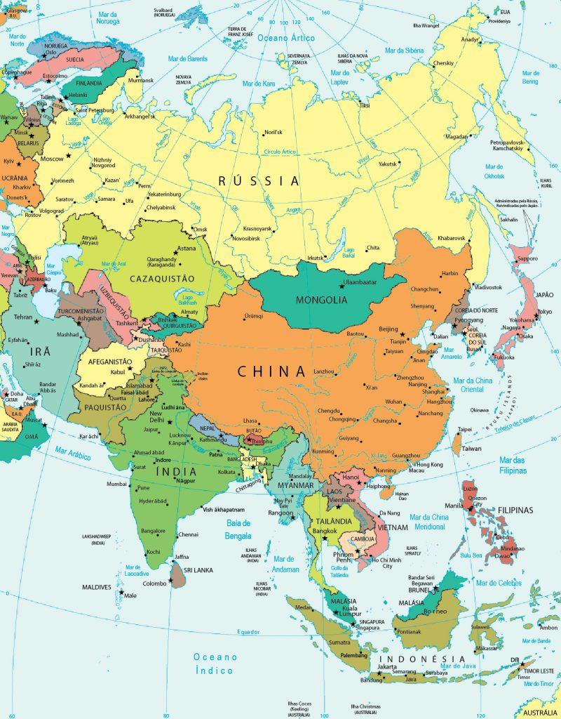 mapa político Ásia