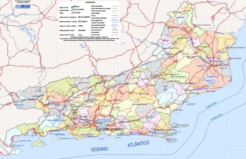 mapa político Rio de Janeiro